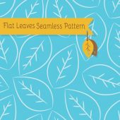 Single white leaves seamless pattern on blue background — Stock Vector