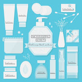 Skin cares products icons set on blue background — Stock Vector