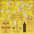 Season's Greetings - Golden yellow gifts, cute birds, and light dots backgroud — Stock vektor #57149015