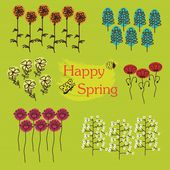 Happy Spring - Wild spring flowers icons — Stock Vector