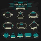 Thin line labels and design elements collection on dark gray background — Stock Vector