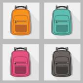 Set of colorful backpacks with long shadow — Vettoriale Stock