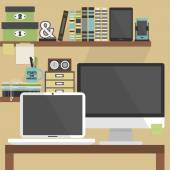 Close up of flat, modern, and stylish working place — Stock Vector