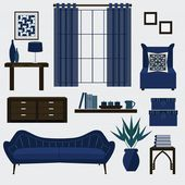 Living room furniture and accessories in color navy blue — Stock Vector