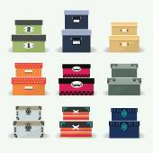 Assorted colorful organizer and decoration boxes set — ストックベクタ
