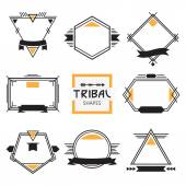 Assorted modern tribal out line shapes, labels and emblems set — Stockvector