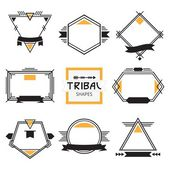 Assorted modern tribal out line shapes, labels and emblems set — Stock Vector
