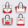 Fashionable women red, black and white purse icons set — Stock Vector #61643111