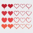 Set of different heart shapes icons in modern red colors - Flat design elements — Stock Vector #61643119