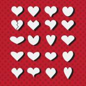 Set of different white heart shapes icons with black shadows on modern red dotted background - Flat design elements — Vetorial Stock