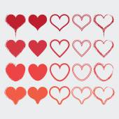 Set of different heart shapes icons in modern red colors - Flat design elements — Stock Vector