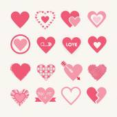 Assorted designs of pink hearts icons set on off white background - Flat design elements — Stock Vector