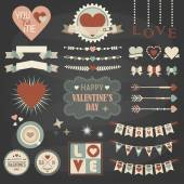 Valentine's Day design and decoration elements set on dark gray background — Stock Vector