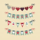 Love buntings and festive garlands decoration set for Valentine's Day and romantic designs — Stock Vector