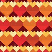 Geometrical abstract hearts seamless pattern - Flat design — Stockvektor