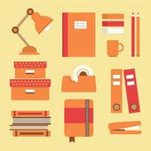 Office supplies and stationery icons set — Stock Vector