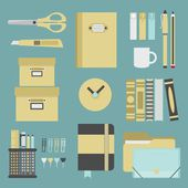 Office supplies and stationery icons set - Flat design — Stock Vector