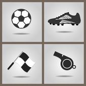 Abstract soccer set icons with dropped shadow on gray gradient background — Stock Vector