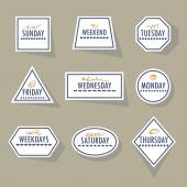 Long shadow white weekdays stickers set in different shapes on khaki background — Stock Vector