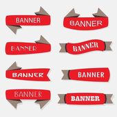 Red inflated ribbon banners icons set in different shapes — 图库矢量图片