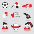 Canada Soccer icons and design element set - Modern flat red, black and white — Stock Vector #74818117