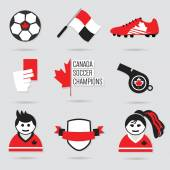 Canada Soccer icons and design element set - Modern flat red, black and white — Stock Vector