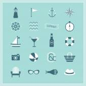 Blue Summer, Naval, and Beach icons set — Stock Vector