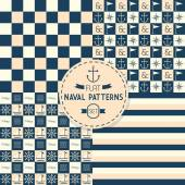 Abstract Naval symbols, stripes, and checkered seamless patterns set — Stock Vector