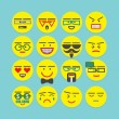 Cute colorful emoticons set - Conceptual and emotional round faces icons for designs — Stock Vector #81894380