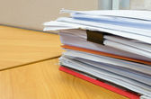 Pile of documents on the office desk — Stock Photo