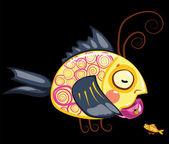 Cartoon characters, tea drinking fish — Stock Photo