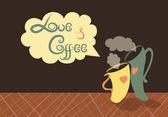 Romantische kopjes koffie — Stockvector