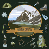 Set of mountaineering icons — Stock Vector