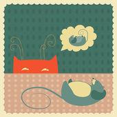 Plíživý kočka na myš — Stock vektor
