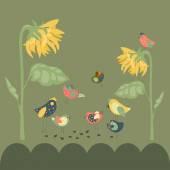 Birds pecking sunflower seeds — Stock Vector