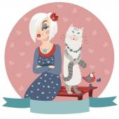 Woman offended by cat — Stock Vector