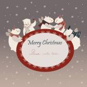 Lindos osos polares celebrando la Navidad — Vector de stock