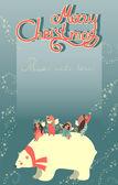Cute angels and polar bear celebrating Christmas — Stok Vektör