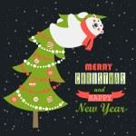Greeting card, polar bear climbed the Christmas tree — Stock Vector #58881987