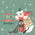 Cute polar bear and husky celebrating Christmas — Stock Vector #59045003