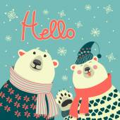 Polar bears say hello — Vector de stock