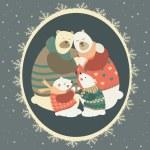 Greeting card, polar bear family celebrating Christmas — Stock Vector #59895551