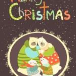 Greeting card, polar bear family celebrating Christmas — Stock Vector #59895667