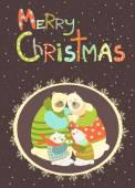 Greeting card, polar bear family celebrating Christmas — Cтоковый вектор