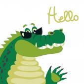 Cute crocodile says hello — Stockvector