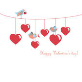 Cute birds celebrating Valentines Day — Vettoriale Stock