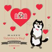 Cute pair of birds and cat celebrating Valentines Day — Stock Vector