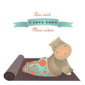 Cute animal illustration of yoga pose — Vecteur