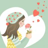 Beautiful girl in love with rose — Stock Vector