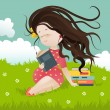 Girl sitting on grass reading a book — Stock Vector #65289779